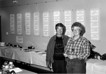 Apple Festival Co-founders Margaret Charlton and Anne Gartshore at the first year of our successful community event in 1991