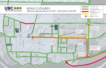 UBC REC Triathlon: Detours and Road Closures – March 9
